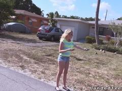Teen bangs strangers cock in car on camera