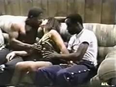 Curvy wife gets fucked by two ebony guys.