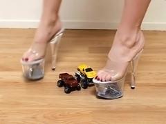 Toy Car Crush in 65  Clear Stripper Heels