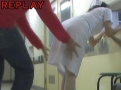 Bent over medical worker is getting her bottom sharked