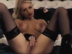 Lovely blond DiamondRoseX smokes and masturbates
