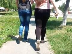 2 sexy girls , candid ass