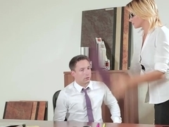 Blonde babe forces her young co worker to fuck her hard