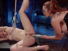 Electro Latex Dungeon: Bella Rossi shocks & fucks tough slut Ella Nova