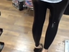 Lycaena walking around in latex leggings and high heels
