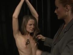 Katy Parker puts clampls on nipples of Lillandra