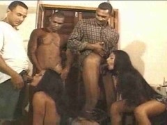 Interracial orgy with a sexy trans