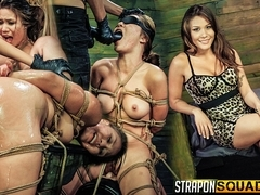 Mena Li Needs More Slut Training with Lexy Villa & Mila Blaze - StrapOnSquad