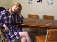 Blonde unshaven teen fingers her twat