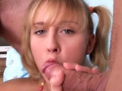 Perfect skinned brunette gets anal creampie