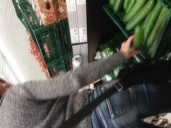 Hot Milf with cucumber