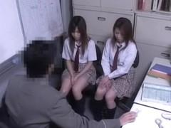 Two Jap schoolgirls fucked in voyeur Japanese sex video