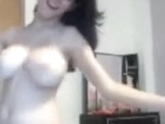 Cute arab female-dominator beauty disrobes totally undressed showing her natural big breasts