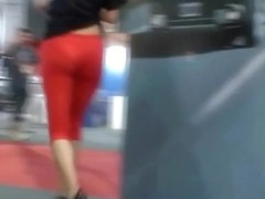 Street candid video with sexy blonde in red pants
