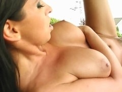 Big tittied bitch is licked and driled outside