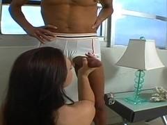 Krystal Jordan pleases her boyfriend with a blowjob