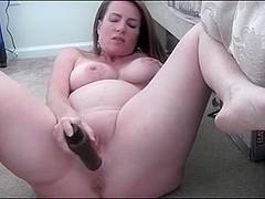 Horny Pregnant MILF Masturbates big boobs prego fingering