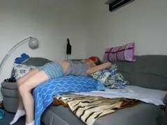 Husband fucks his blindfolded wife missionary on the sofa