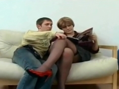 Beauty Mom In Stockings And Boy Anal