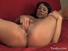 Large Boobed Hottie Frantically Fingers her Love Tunnel