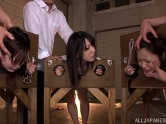 Naughty Asian teens Ai Uehara, Ami Tokita and friend in the stockade