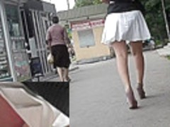 Young coquette was filmed on the upskirt hidden camera