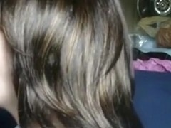 Brunette deepthroats her bf and loses alot of spit
