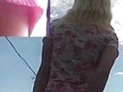 Hawt view up pink petticoat