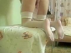 Brunette Hair Hair wife on her knees