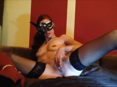 Red haired webcam slut fucks a sex toy