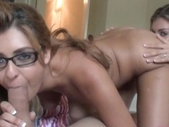 Two horny girlfriends Nikki and Rio enjoying hot threesome