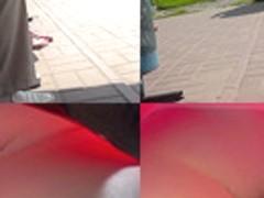 Upskirting voyeur filmed skinny ass of a brunette gal
