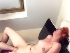 Redhead girlfriend getting cum-gap fisted
