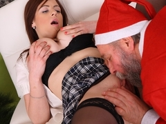 Two naughty girls fucked hard by sexy older male Santa and take his cum - OldGoesYoung