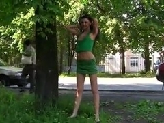 Russian black-haired cutie in outdoor nudity porn