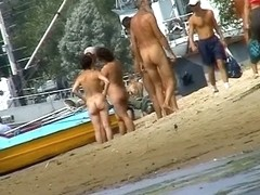 Naked hot babes at the marina beach