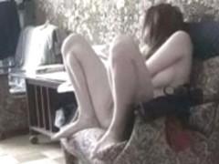 Masturbating in the living room (Hidden webcam)
