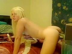 Teen blonde riding a dildo on webcam