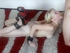 Tied up youthful german blonde fucked