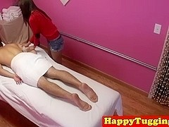 Asian masseuse Kimmy Lee jerking cock