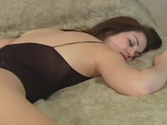 Voluptuous gal in pantyhose