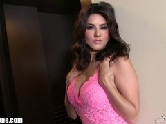 SunnyLeone Sunny Leone in her pretty little pink dress