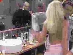 Blonde slut teasing man with nude titties downblouse