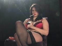 Lucia Love all white  chain smoking masturbation with big black dildo
