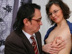 TrickyOldTeacher - Science teacher tricks student into cock sucking and fucking action