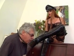 Busty dominatrix and her elderly slave having fun