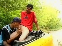 slim boys have fun in cabriolet Pretty