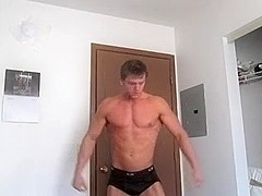 Muscular Guy Masturbates