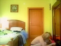 Hidden web camera in the bedroom catches my obese older wife