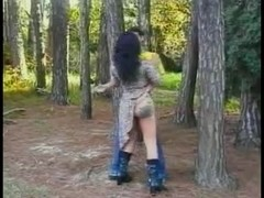 Guy fucks shemales tatooed ass in a forest